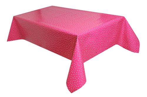 tischdecke wachstuch abwaschbar kleine punkte pink weiss. Black Bedroom Furniture Sets. Home Design Ideas