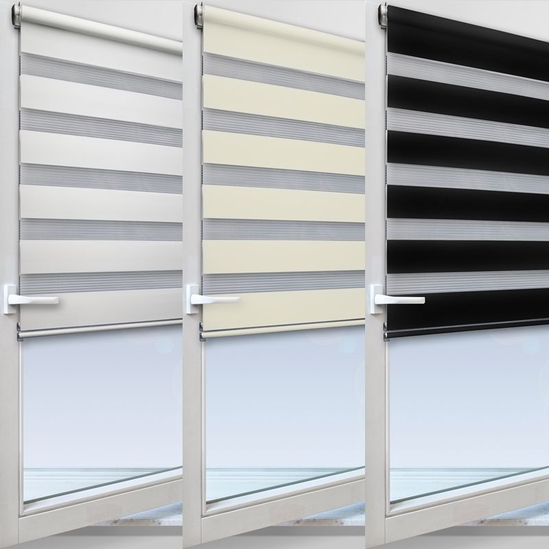 fensterrollo doppelrollo duorollo mit kettenzug und klemmfix mit weissen leisten ebay. Black Bedroom Furniture Sets. Home Design Ideas